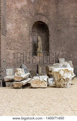 ROME, ITALY - JUNE 12, 2015: The baths of Diocletian (Thermae Diocletiani) in Rome. Italy