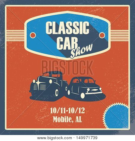 Classic car show poster. Old retro automobile banner. Promotional design with pick-up truck. Eps10 vector illustration.