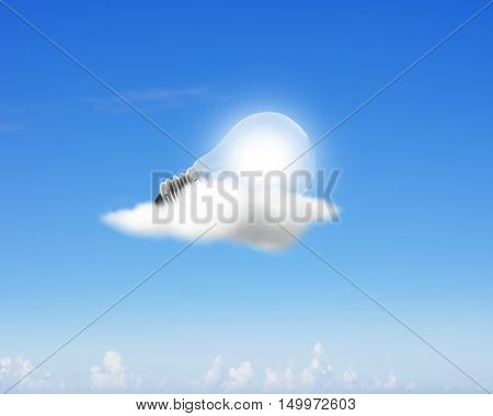 Glowing Light Bulb On Clouds
