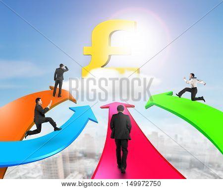 Men On Four Color Arrows Go Toward Golden Pound Symbol
