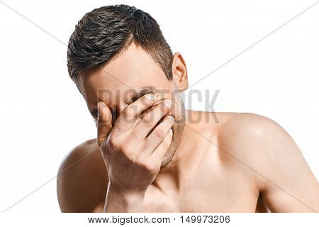 Closeup Portrait Of Stressed Man Isolated On White Background