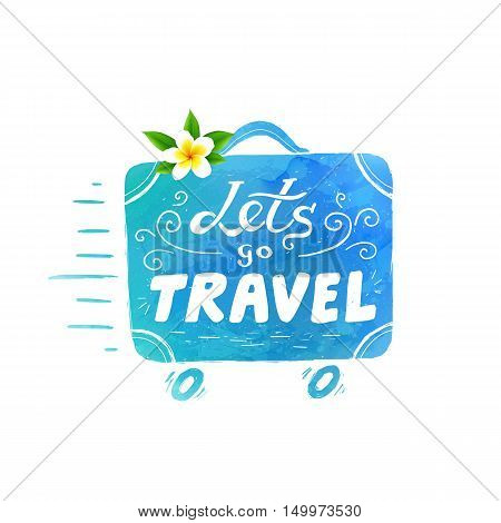 Blue watercolor texture vector running suitcase silhouette with white lettering - Lets go Travel and white Bali flower