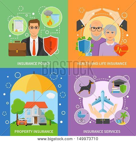 Insurance companies services flat icons square composition with life health and property protection policy abstract isolated vector illustration poster