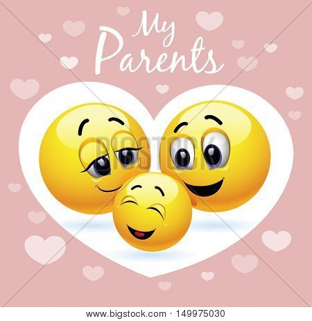 Enjoying parenting. Happy child. Smiley family. Vector illustration of a happy family presented trough smiley symbols.