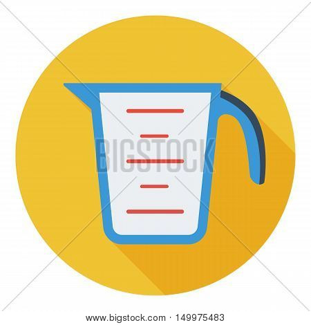 Measuring cup icon in flat style isolated on white background. Kitchen symbol vector illustration.