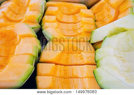 Cantaloupe Or Charentais Melon Sliced Background (other Names Are Melon, Cantelope, Cantaloup, Muskm