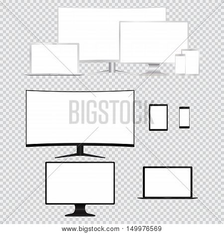 Set of electronic devices. Computer monitor tv laptop tablet smart phone isolated. Vector illustration.