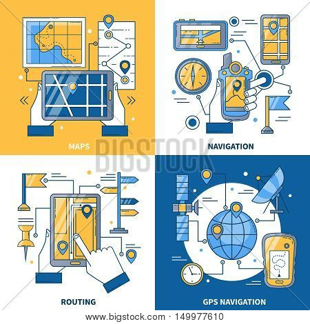 Navigation 2x2 design concept with global positioning system and maps app for smartphone and mobile flat vector illustration