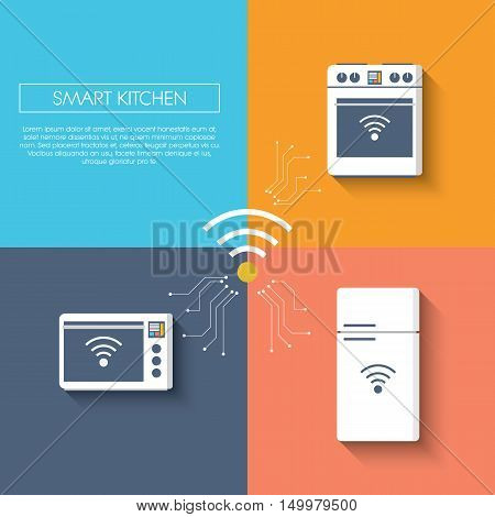 Internet of things smart kitchen concept with appliances. Refrigerator, freezer, fridge, oven, microwave. Modern flat design infographics with long shadow. Eps10 vector illustration.