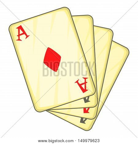 Four aces playing cards icon in cartoon style isolated on white background vector illustration