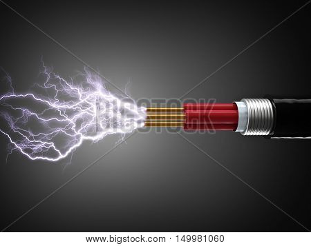 cable and electricity sparkls 3d render
