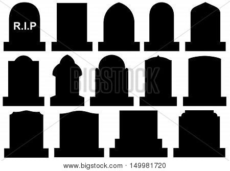 Illustration of different Halloween gravestones isolated on white