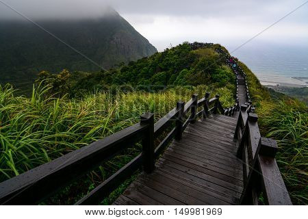 Boardwalk to an overlook on the coast of Jiufen along the Yinyang sea in northeast Taiwan