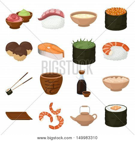 Sushi set icons in cartoon style. Big collection of sushi vector symbol.