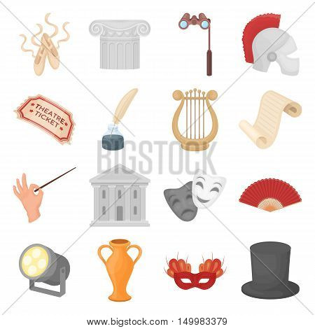 Theater set icons in cartoon style. Big collection of theater vector symbol.