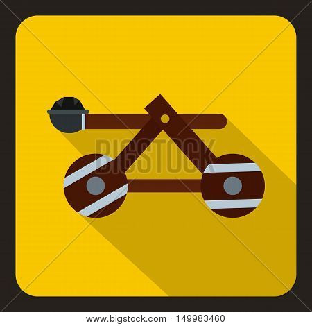 Medieval wooden catapult icon in flat style on a white background vector illustration
