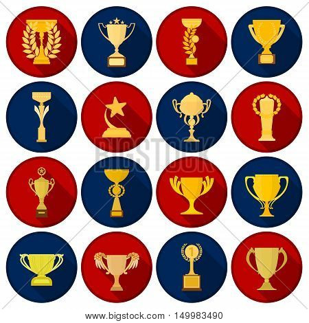Winner cup set icons in flat style. Big collection of winner cup vector symbol.