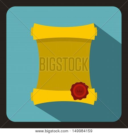 Ancient paper scroll with wax seal icon in flat style on a white background vector illustration