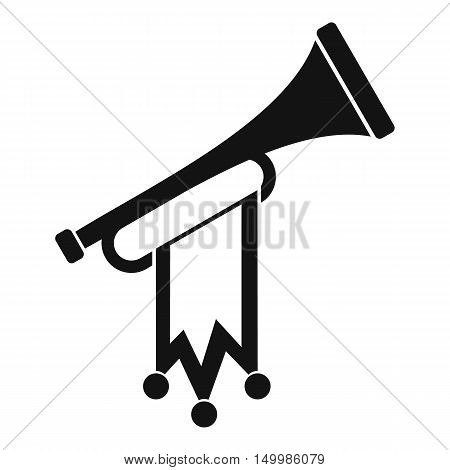 Trumpet with flag icon in simple style on a white background vector illustration