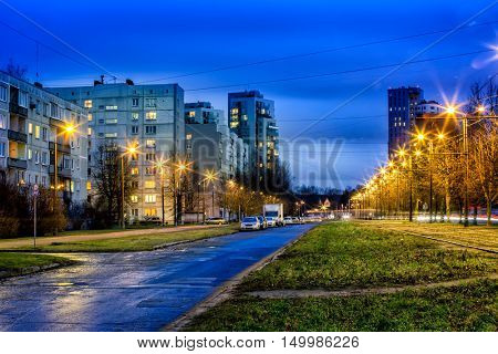 Night view of New and soviet era block apartment buildings