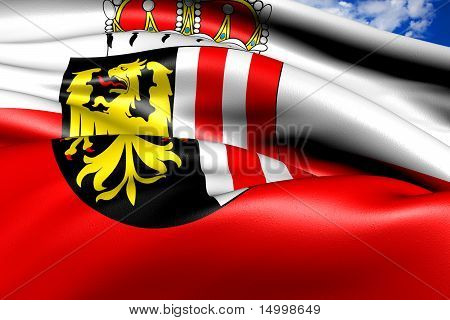 Flag of Upper Austria against cloudy sky. Close up. poster