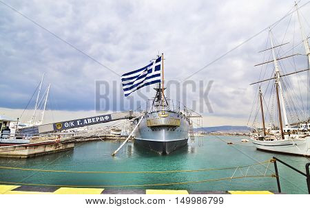 PALAIO FALIRO GREECE, DECEMBER 16 2015: George/Georgios Averof historical battleship, operates as a museum at Palaio Faliro Greece. Editorial use.