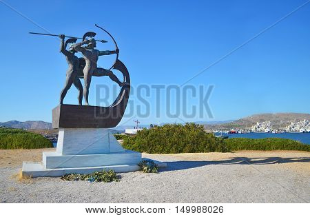 SALAMIS GREECE, OCTOBER 29 2015: memorial to the fighters of the Battle of Salamis. The memorial is at the area of Kynosoura at Salamis island, Greece. Editorial use.