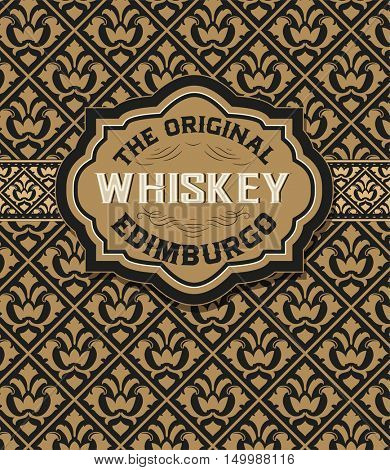 Old Whiskey badge with vintage background