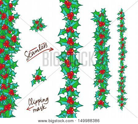 Holly borders and garlands. Vector hand drawn background, design element for Christmas and New Year greeting card or banner. Holly with berry, isolated on white
