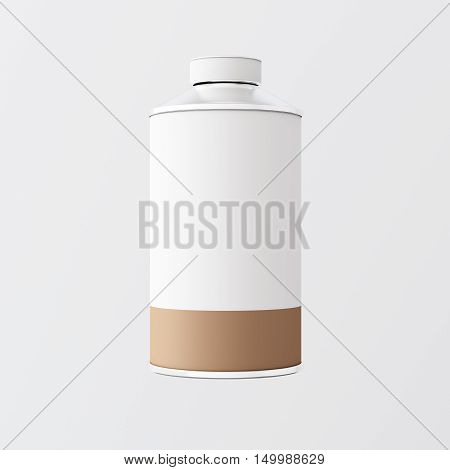 Closeup One Blank White Brown Color Metal Jar Isolated Empty Background.Clean Cup Container Mockup Ready Use Corporate Design Message.Modern Style Drinks Food Storage.Square. 3d rendering