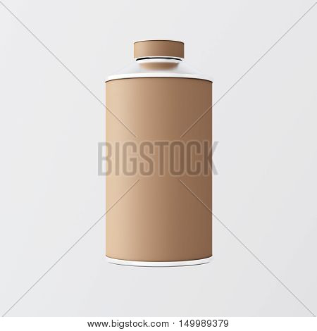 Closeup One Blank Brown Matte Color Metal Jar Isolated Empty Background.Clean Cup Container Mockup Ready Use Corporate Design Message.Modern Style Drinks Food Storage.Square. 3d rendering
