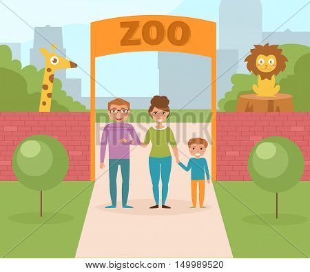 Family at the zoo. Gate and red brick wall. Vector illustration. Cartoon character. Isolated.