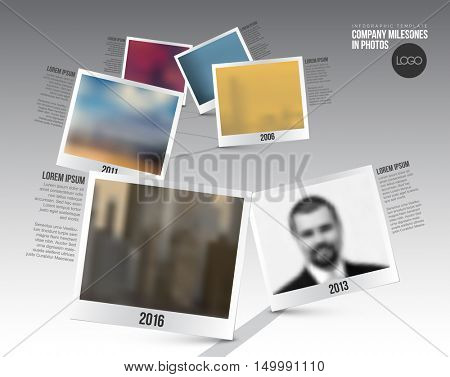 Vector Infographic Company Milestones Timeline Template with photo placeholders on a curved road line