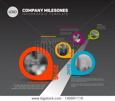 Vector Infographic Company Milestones Timeline Template with pointers and photo placeholders on straight road line, dark version