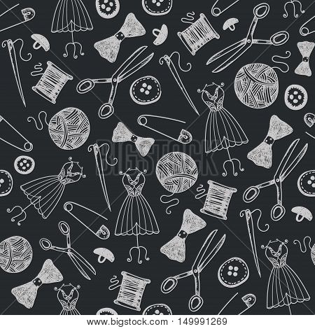 Vector hand drawn sewing seamless background, doodle handmade, hobby wallpaper, wrapping paper. Black and white