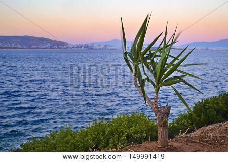 sunset at Salamis island Saronic gulf Greece