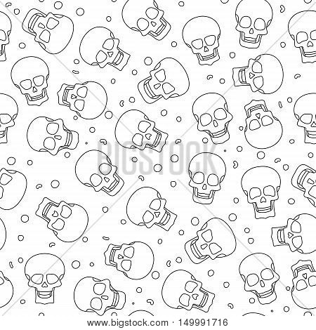 Funny colored skull seamless pattern, dulce muerte, vector illustration