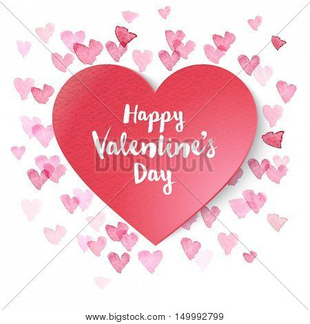 paper Valentines heart on background with small pink hearts