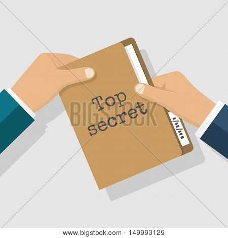 Top secret concept. Folder with classified documents giving in hands. Deal transmission of information bribe message. Vector illustration flat design.