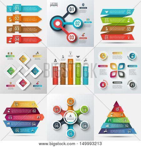 Business data visualization. Process chart. Abstract elements of graph, diagram with 3, 4, 5 and 6 steps, options, parts or processes. Vector business template for presentation. Creative concept for infographic.