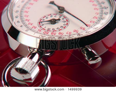Red Stopwatch On Red Blocks