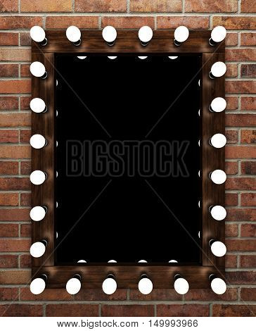 Wooden makeup mirror on brick wall. 3D rendering