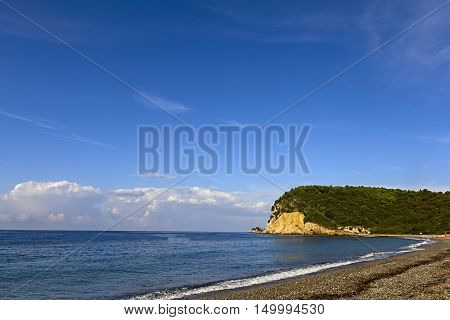 Breathtaking picturesque view on Buljarica Beach in Montenegro