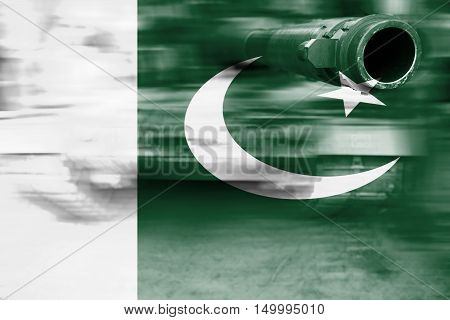 Military Strength Theme, Motion Blur Tank With Pakistan Flag
