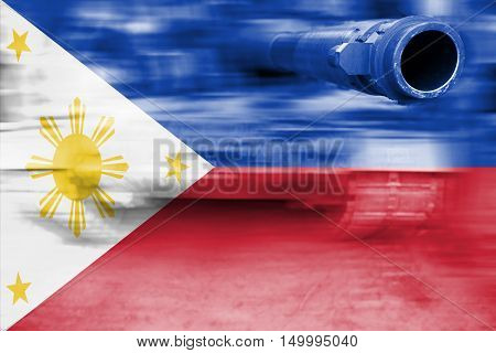 Military Strength Theme, Motion Blur Tank With Philippines Flag