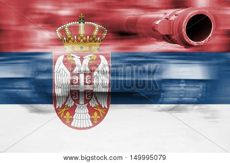 Military Strength Theme, Motion Blur Tank With Serbia Flag