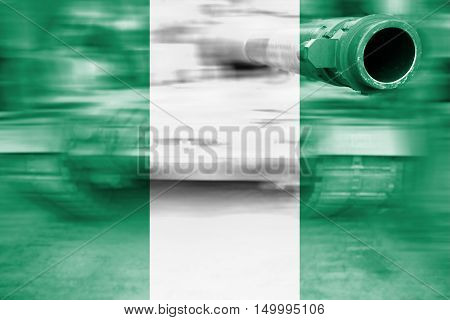 Military Strength Theme, Motion Blur Tank With Nigeria  Flag