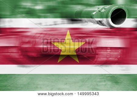 Military Strength Theme, Motion Blur Tank With Suriname Flag