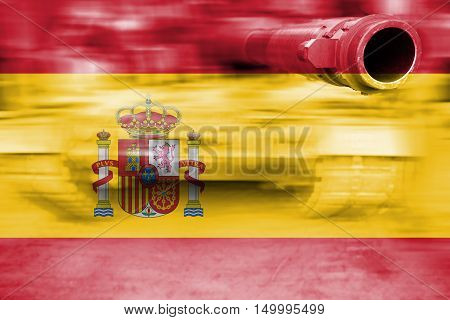Military Strength Theme, Motion Blur Tank With Spain Flag