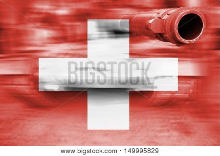 Military Strength Theme, Motion Blur Tank With Switzerland Flag